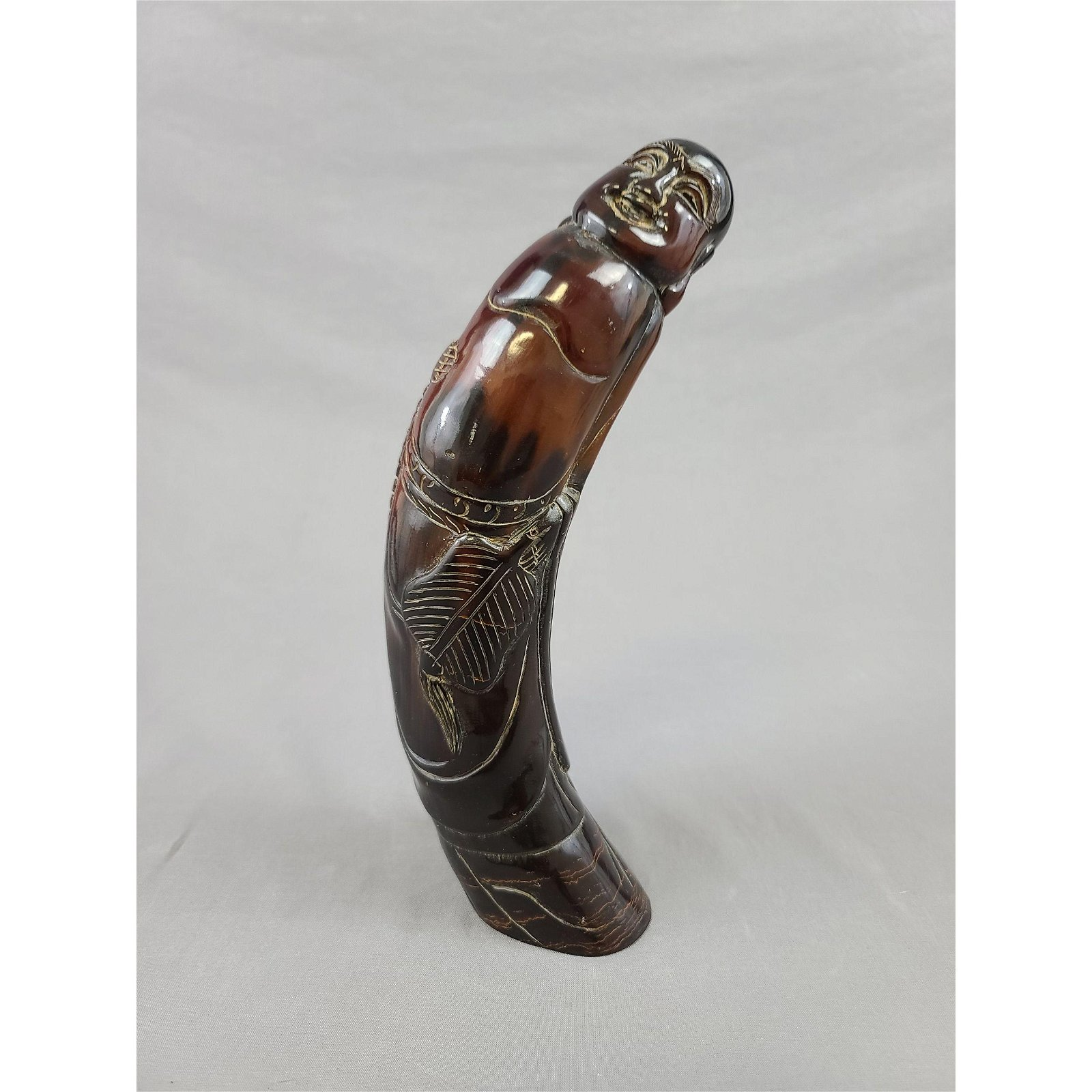 Carved Chinese Ox Horn Buddha Deity Statue.