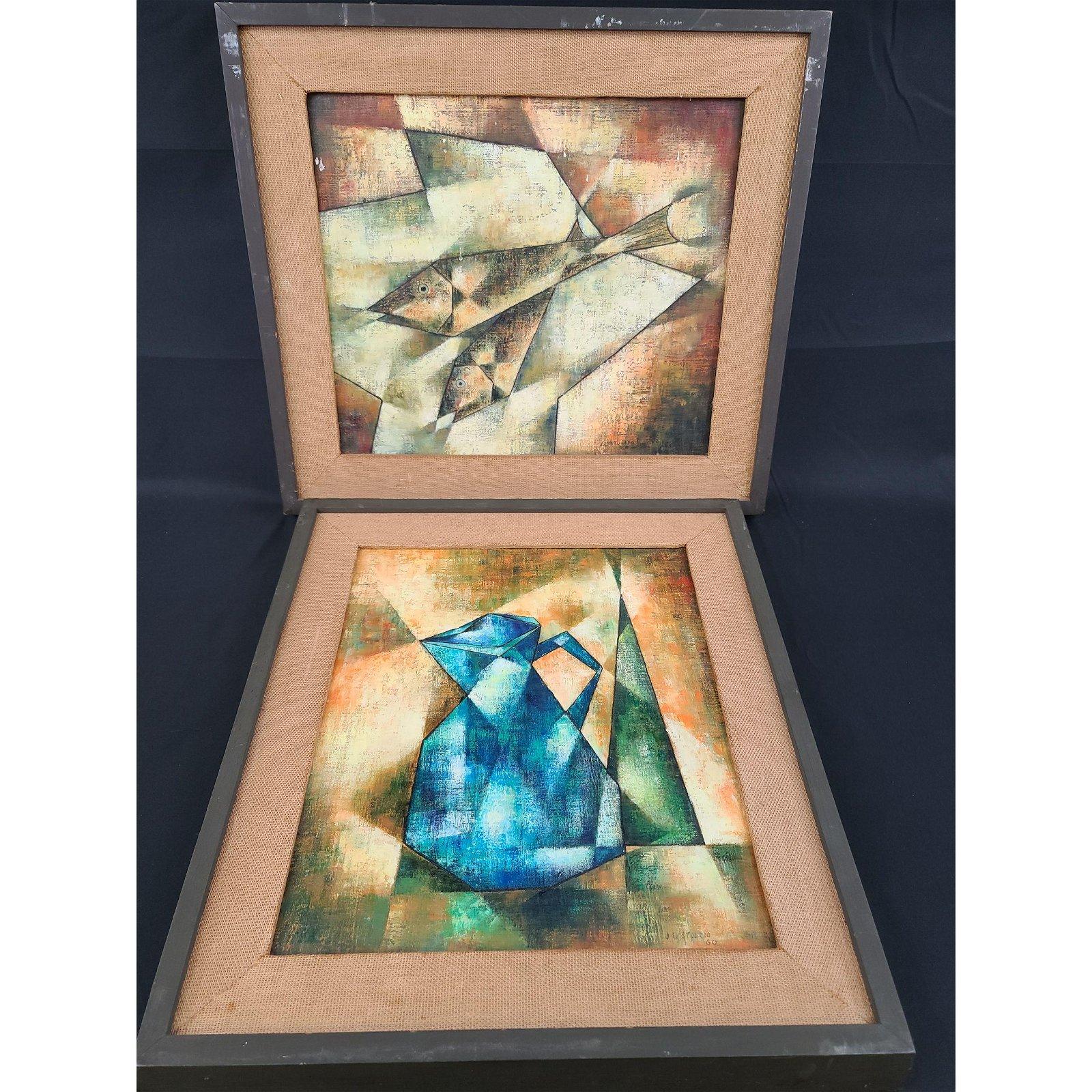 Mid Century Cubist Painting J Luis Toledo 1929-07