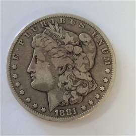 Morgan Silver Dollar Coin 1881CC