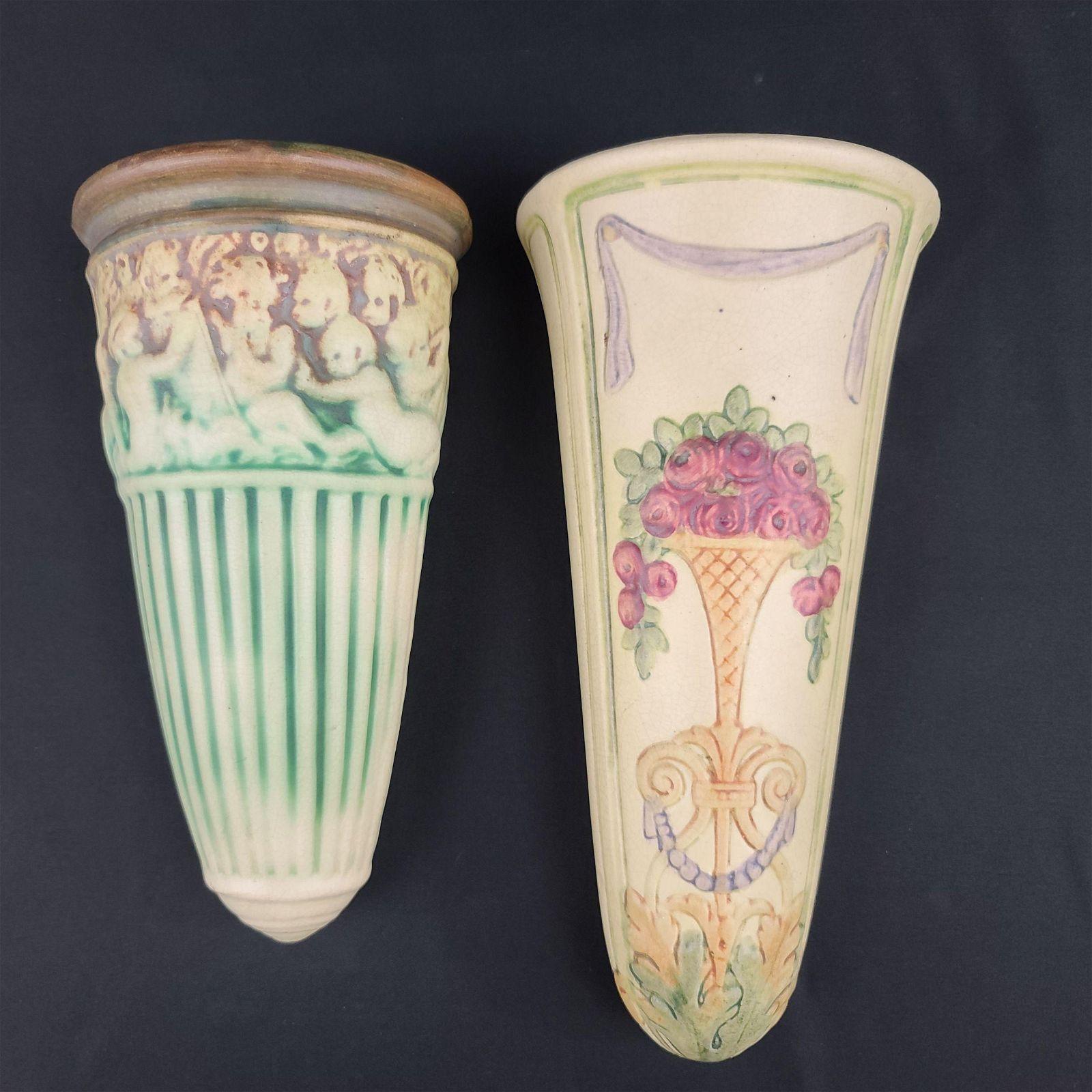 2 Antique Weller Pocket Vases Fairfield 1914-15