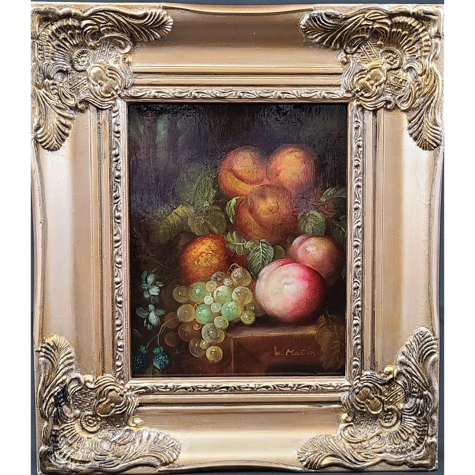 Antique Oil On Canvas Still Life Painting Signed