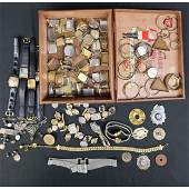 Lot of Watches, Parts, and Miscellaneous. Gold, Silver