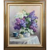 Large OC Still Life Floral Painting Signed