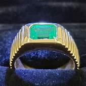 Mens 14k Yellow Ring w Green Emerald Stone
