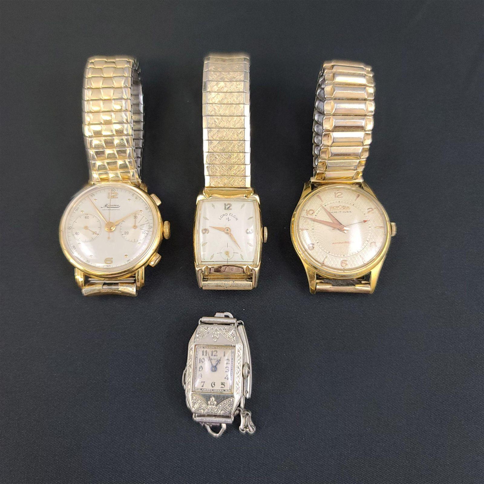 Lot of 4 Wrist Watches Minerva Chronograph 1920-1930