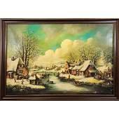 19th C Flemish Winter Scene Landscape Signed