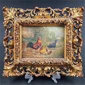 Fine Antique O/B Landscape Painting With Chickens 19 C