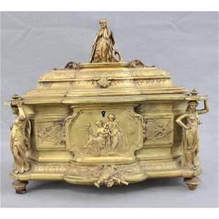 Antique French Bronze Casket Box 1860