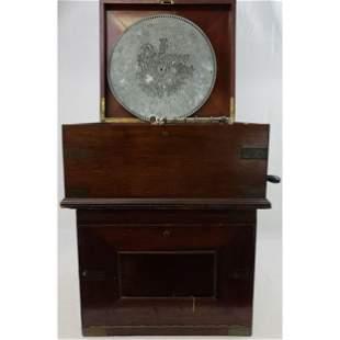 Antique Mahogany Regina Music Box With Appx. 47 Discs