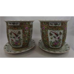 Pair Of Chinese Famille Rose Planters w/ Underplates