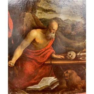 16-17 C Oil On Copper St Jerome In Manner Of Rembrandt