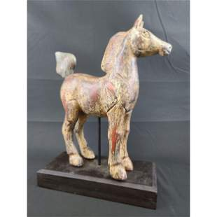 Handcarved Wooden Horse, Stand Chinese Tang Style