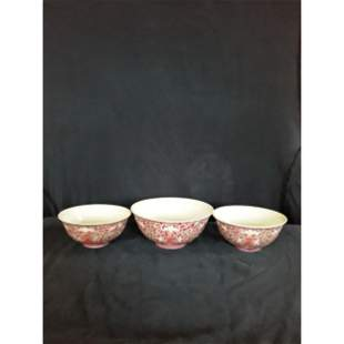 3 Chinese famile rose bowls 19-20 with marks