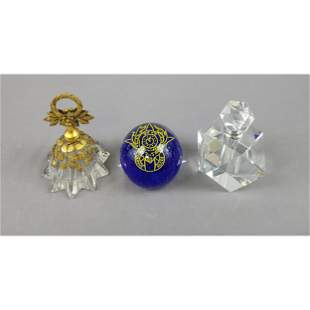 Lot of 2 Signed Vintage Perfume Bottles & Paperweight