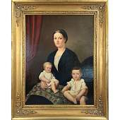 Antique O/C Portrait Painting Mother With Children