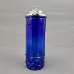 Vintage Cobalt Blue Straw Holder