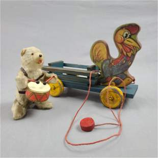 Antique Pull Toy Rooster And Windup Bear