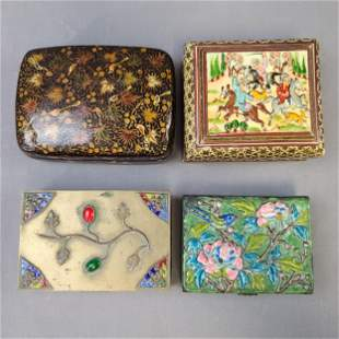 4 Lacquered Enamel Brass Chinese And Persian Boxes