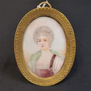 Very Fine Miniature Portrait Painting Bronze Frame 19 C