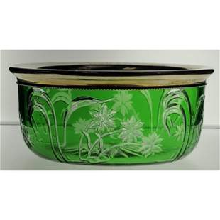 ABP Cut Glass Green Cut To Clear Finger Bowl Reed & Bar
