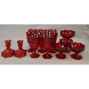 14 Fostoria Ruby Glass Lot Goblets & Candle Holders