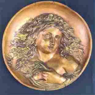 Art Nouveau Nude Woman Gold Gilded Bronze Plaque