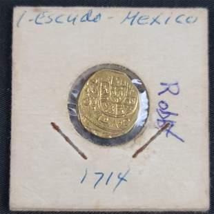 1714 1 Gold Coin Escudo Mexico Fleet