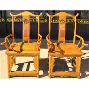 Pair Of Fine Chinese Official Chairs Elm & Pine Wood