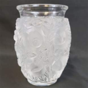 A Lalique Art Glass Vase With Birds Signed