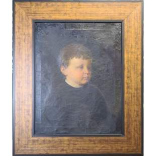 Antique O/C Portrait Painting of A Boy 19th C