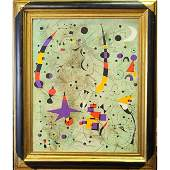 Oil On Canvas Abstract Painting in the style of Miro