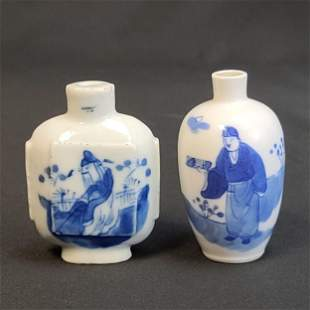 Lot Of 2 Chinese Blue And White Snuff Bottles