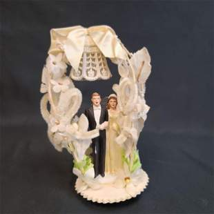 Vintage Bride & Groom Cake Topper Pre 50's