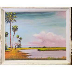 N.E Wright Florida Highwaymen Landscape Painting