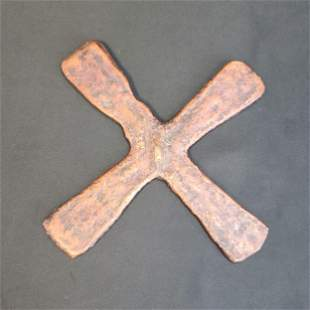 Old Antique African Katanga Tribe Copper Metal Cross