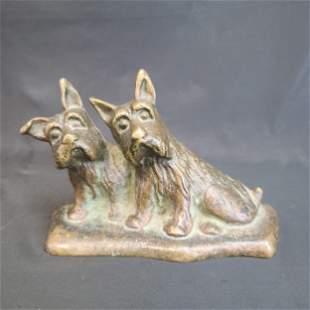 Antique Bronze Door Stop SCOTTY DOGS