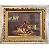 Antique Oil On Panel Painting Barnyard Chickens 19th C