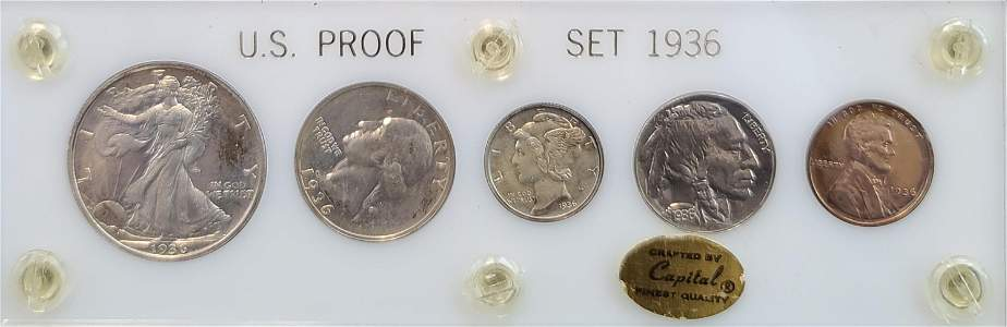 (5) US 1936 PROOF SET COINS BY CAPITAL