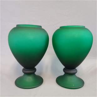 2 Antique Frosted Green Footed Vases / Apothecary Jars?
