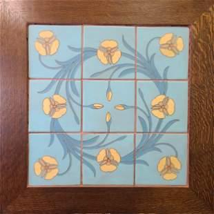RARE Set Of Van Briggle Floral Tiles  In Oak Frame