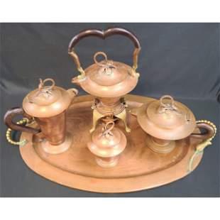 Mexico J. Jimenez Tea Set With Large Tray Signed