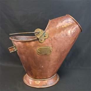 Antique Hammered Copper Coal Bucket  PRESENTATION PCE