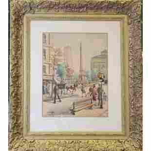 André Krafft b. 1911 Paris Street Scene Watercolor