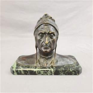 Antique Dante Bronze Sculpture 19th c UN-PAID RE-LSTD