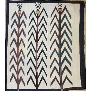 A Fine Antique Navajo Rug Pictorial Corn / Yei Pre 1940