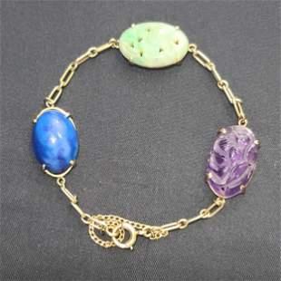14k Gold  Chinese Bracelet W/ Jade Amethyst Lapis