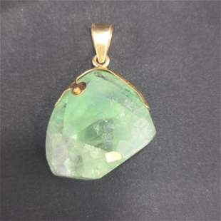Columbia Rough Cut Emerald Pendant Mounted On 14k Gold
