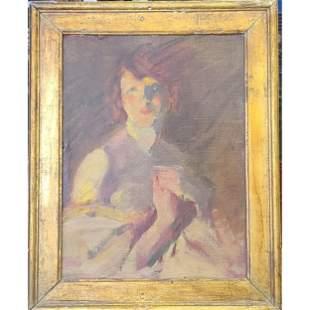 Ashcan School Portrait Painting John Sloan George Luks?