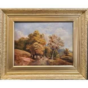Signed M.G.S 1887 Oil On Canvas Landscape Painting