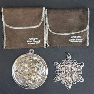2 Gorham Sterling Silver Christmas Ornaments 65.8 Grams
